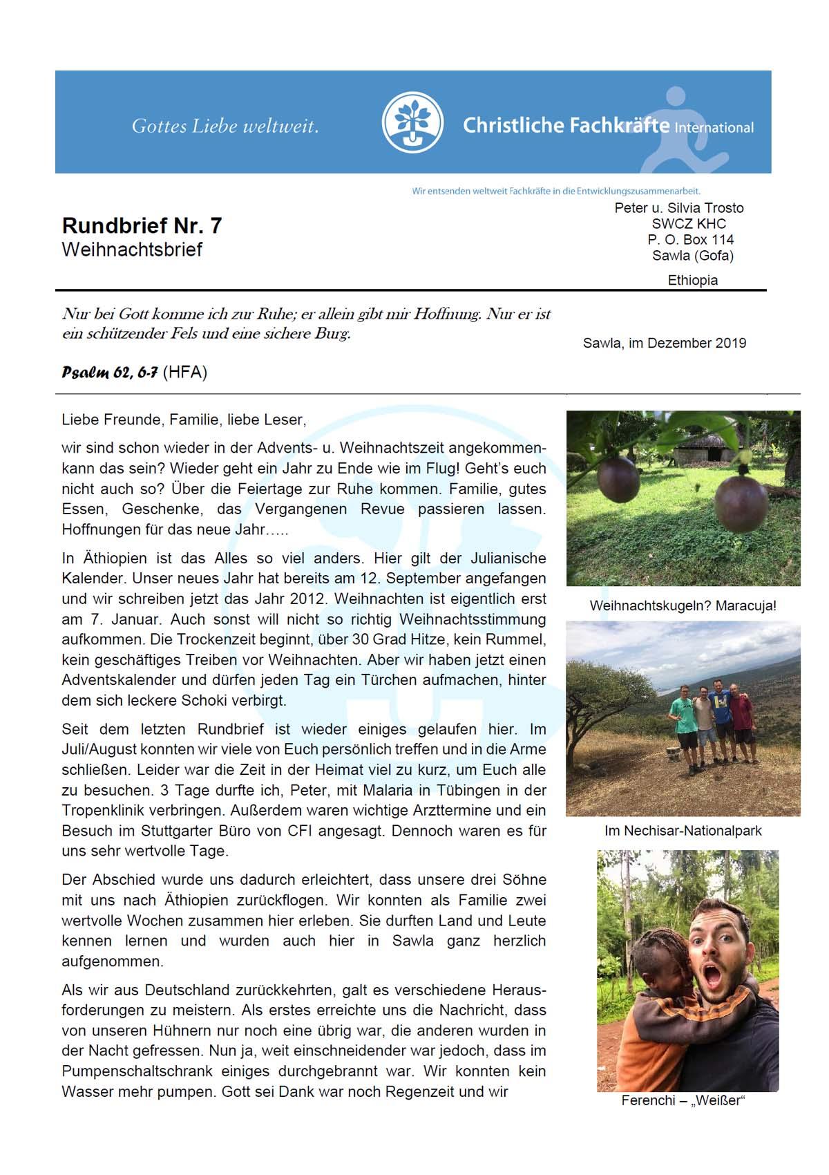 Äthiopien-Rundbrief Dez. 2019